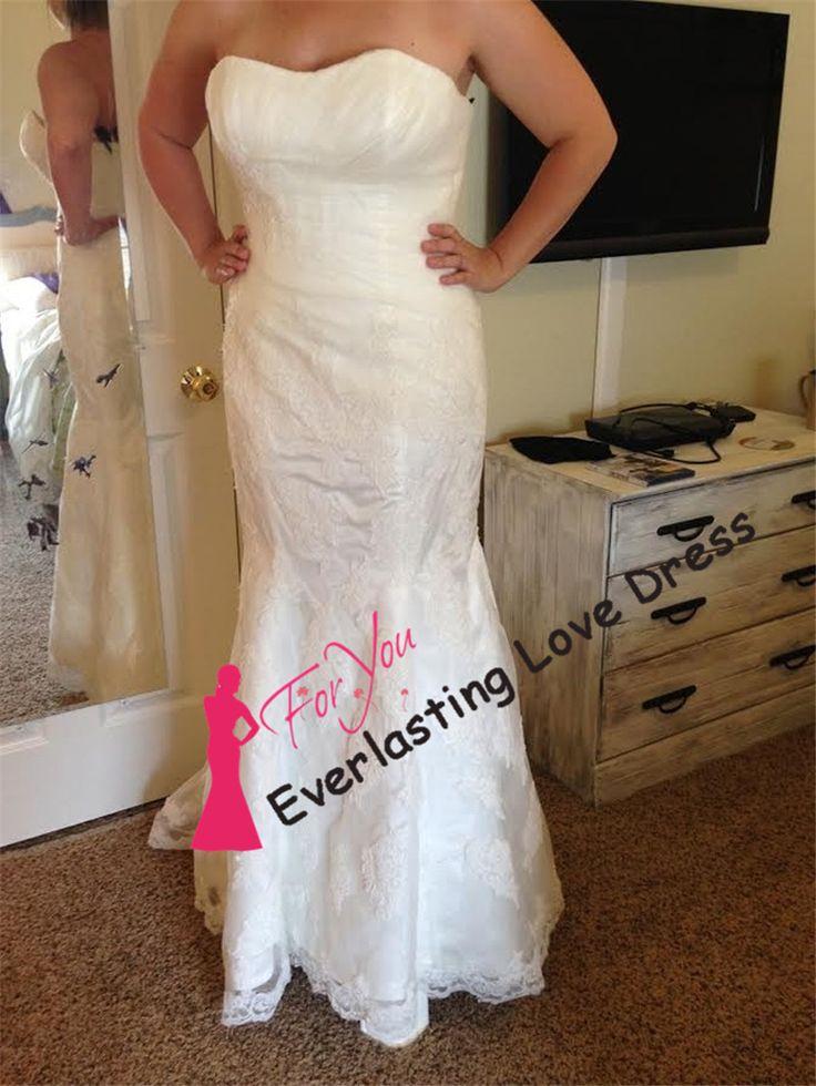Привлекательный милая аппликация Ruched кружева русалка свадебные платья vestido курто де noiva винтаж свадебное платье халат mariage