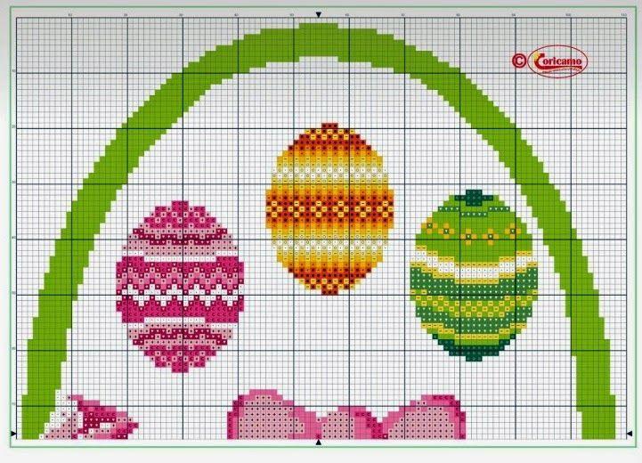 Схемы вышивки крестом. пасхальные яйца