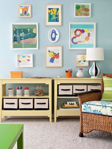 Kids Art Supply Shelves - A varied mix of canvas boxes, baskets, jars, and cubbies keeps kids' supplies organized. A low shelf makes art supplies easy for kids to reach.