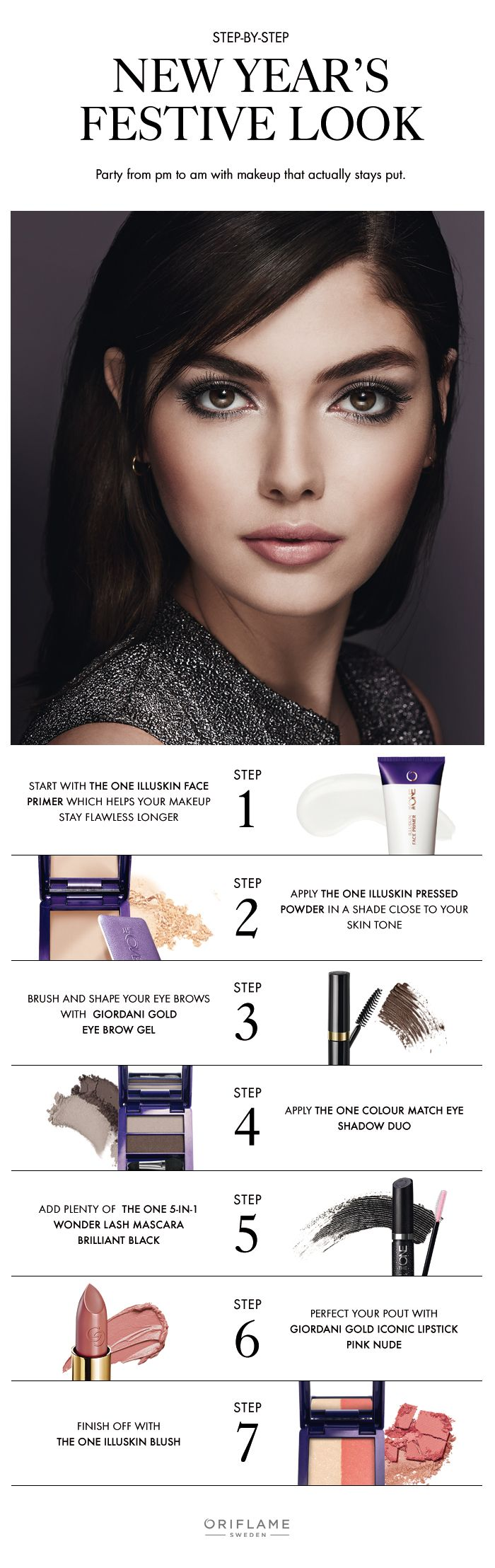 Start 2016 as you mean to go on, with flawless makeup (even at 3 in the morning). This how-to guide shows you how to master this elegant New Year's look in seven steps.