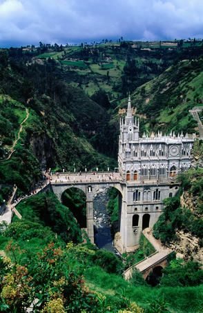 Santuario de Nuestra Senora de las Lajas, church built on bridge over gorge of the Guaitara River.