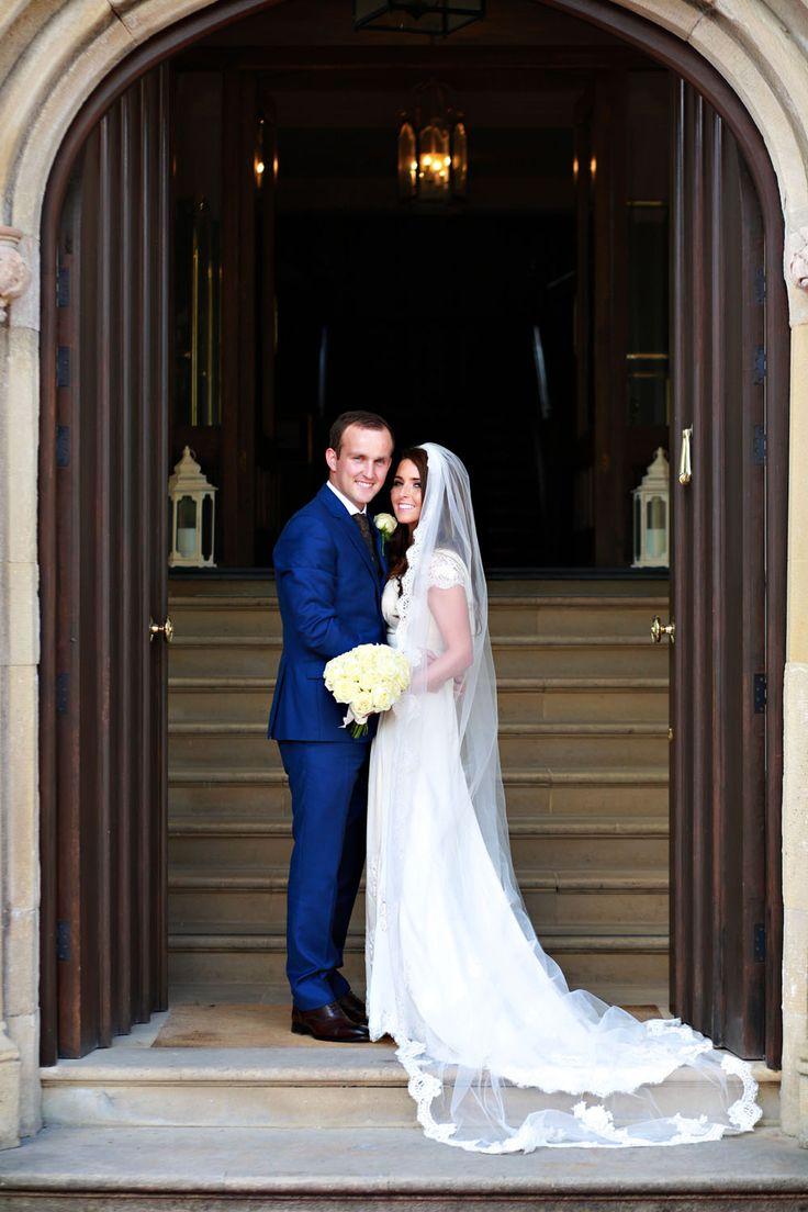 Bride & groom portrait in doorway of Lough Eske Donegal Wedding Photography