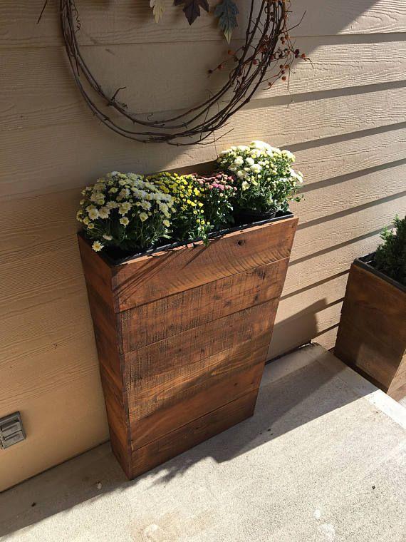 36 Tall 8 5 Skinny Entry Way Cedar Wood Planter Garden Planter Boxes Raised Garden Beds Diy Diy Planters