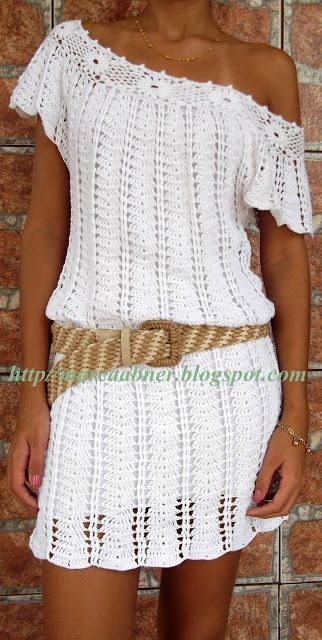Marcinha Crochet: VESTIDO EN BLANCO Croche