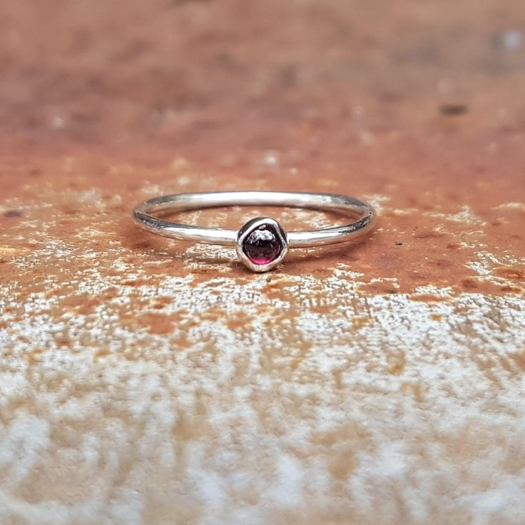 Unique Pink Garnet & Eco Sterling Silver Ring by RunikJewelleryAU on Etsy