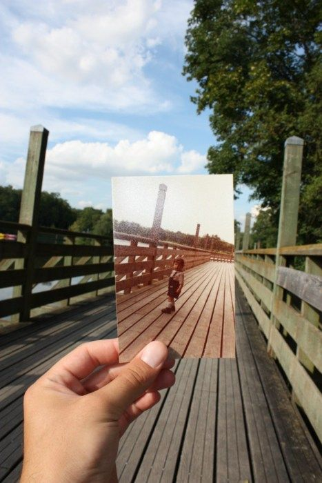 This guy has a whole blog where someone is holding up an old photograph in the same place in current time where the old photo was taken to show how things have changed. Love it!