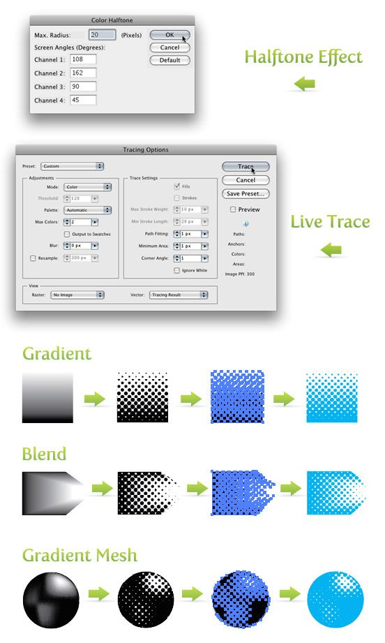 creating Halftones from Gradients, Blends and Gradient Meshes in illustrator