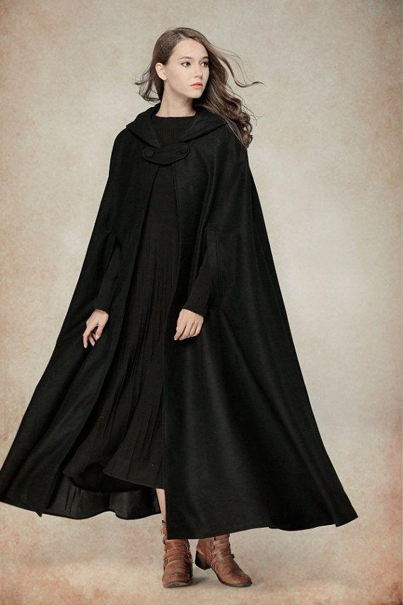 flare wool coat jacket black hooded cloak winter by camelliatune