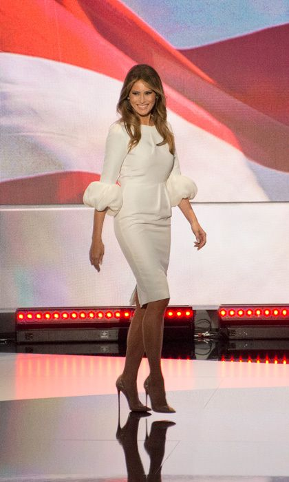 The mom-of-one was a vision in white donning a sheath dress that featured balloon cuffs by one of Kate Middleton's go-to designers, Roksanda Ilincic for her highly-anticipated speech at the Republican National Convention.