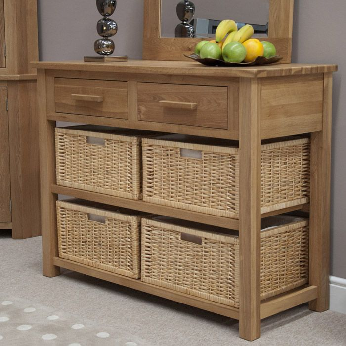 oak storage cabinet with wicker baskets 1