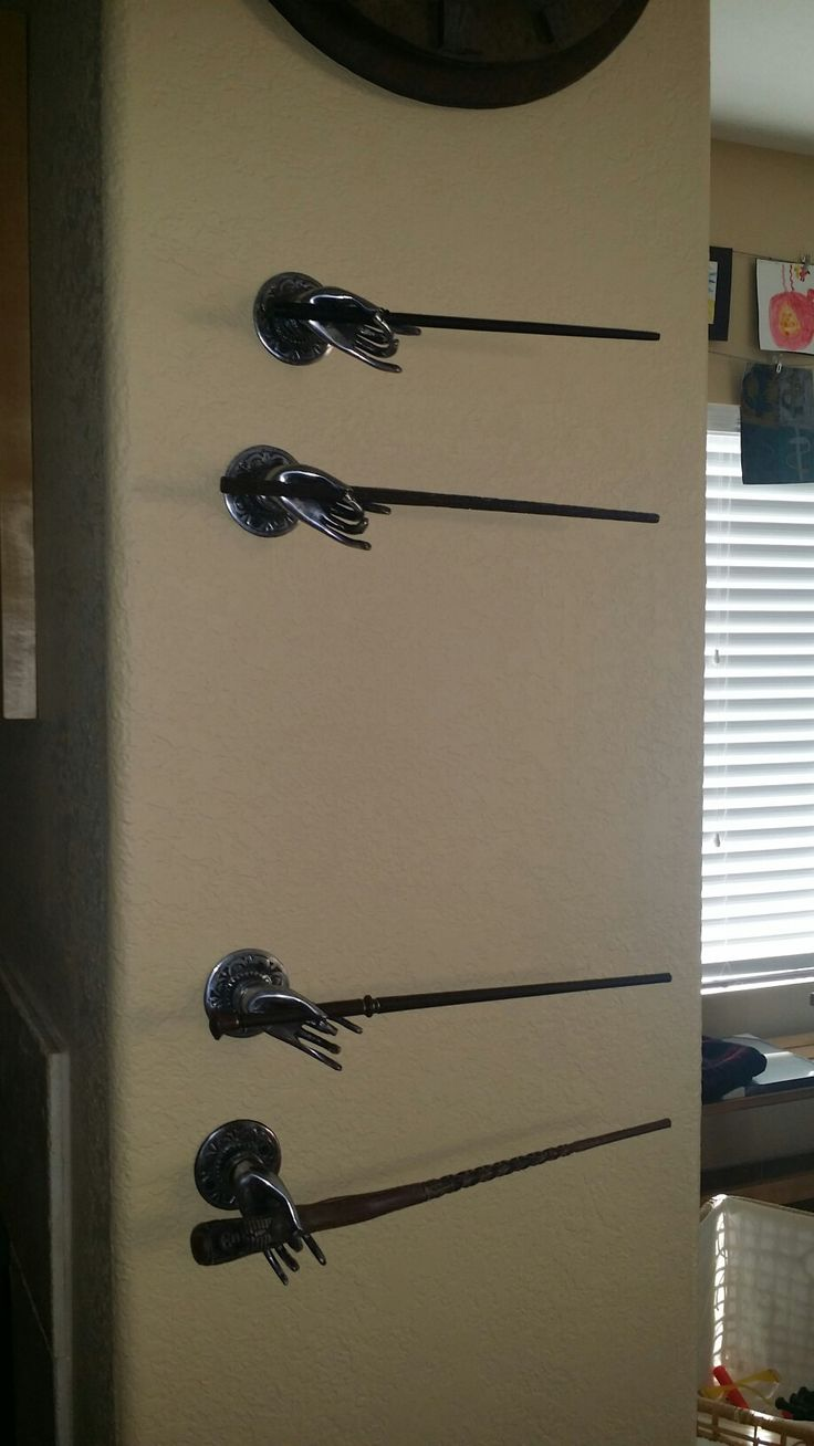 Harry potter wand display using hooks from cost plus world for Elder wand display