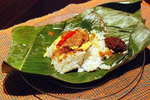 Nasi Uduk #nasi #uduk #indonesian #traditional #food #banana #leaf #photo
