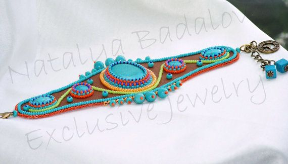 ARTBEADS Bead embroidered Turquoise leather bracelet by Sunny1167, €120.00