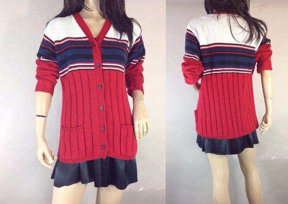 Vintage Striped Cardigan Preppy Sporty Red White Blue #sixcatsfunVINTAGE #cardigan #boyfriendsweater
