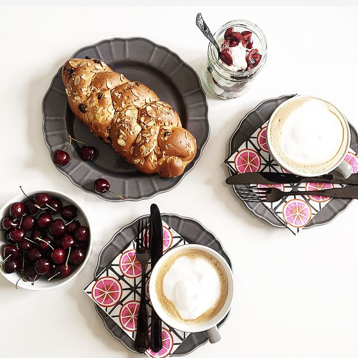 Coffe, pink, challah, enjoy!