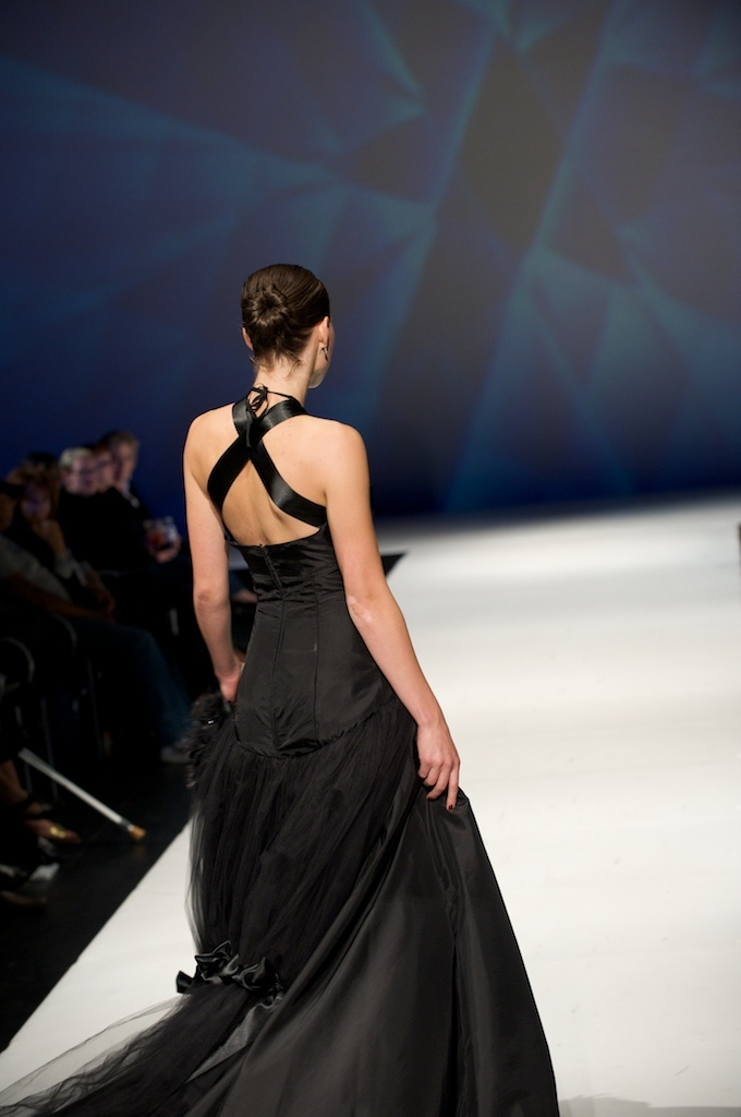 black tafetta ballgown with tulle bustle and satin ribbon detailing