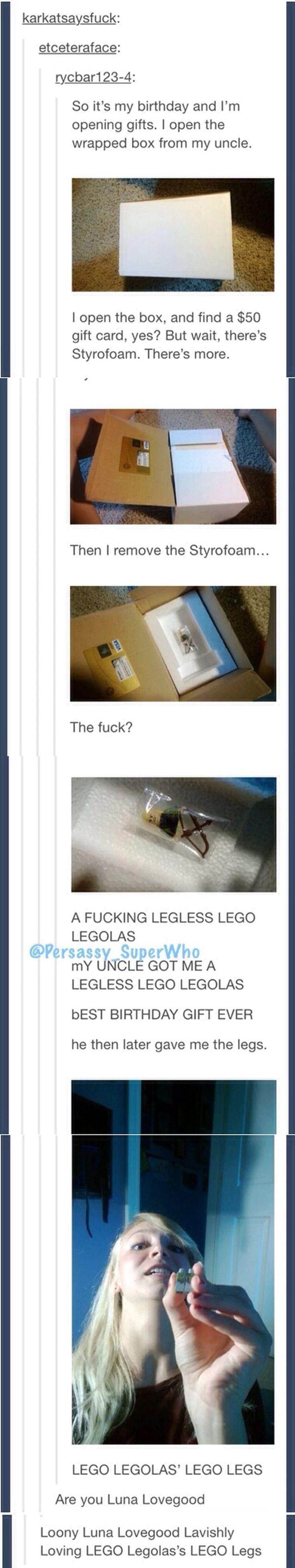 Loony Luna Lovegood Lavishly Loving LEGO Legolas's LEGO Legs. Me encanto!
