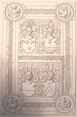 High Court Judge of Jutland Mogens Munk's tombstone (drawing) in Hjerm Church 1470 (?) - 1558. The Munk Coat of Arms above to the left.