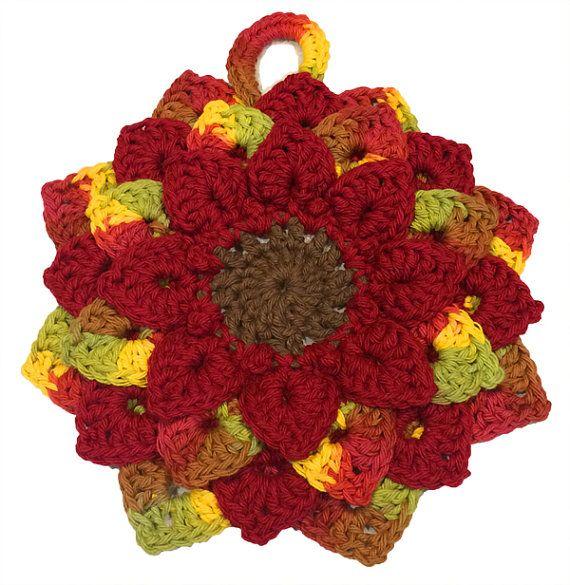 Burgundy & Autumn Colors Crochet Sunflower by ThroughTheNeedlesEye