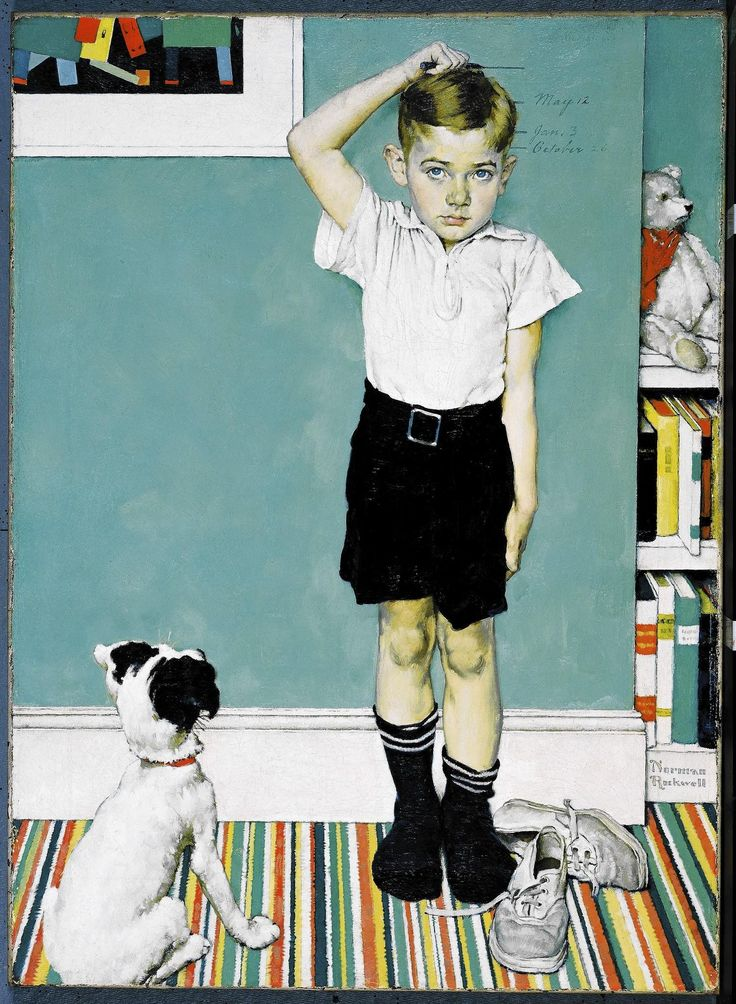 "Norman Rockwell -  ""He's Going To Be Taller Than Dad,"" 1939, oil on canvas print advertisement for the Upjohn Company of Pfizer Inc."