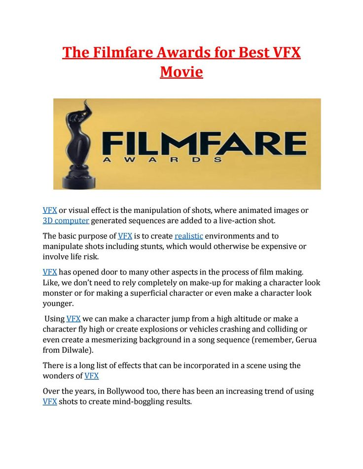 The Filmfare Awards For Best VFX Movie