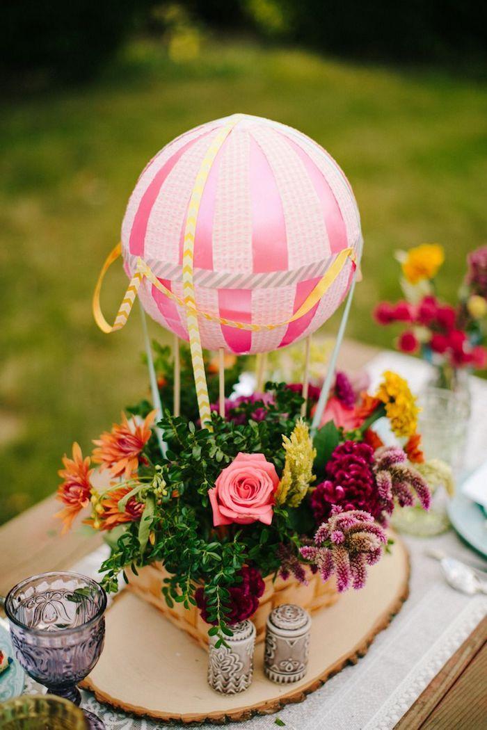 tischdeko luftballon blumen seil | Heißluftballon basteln