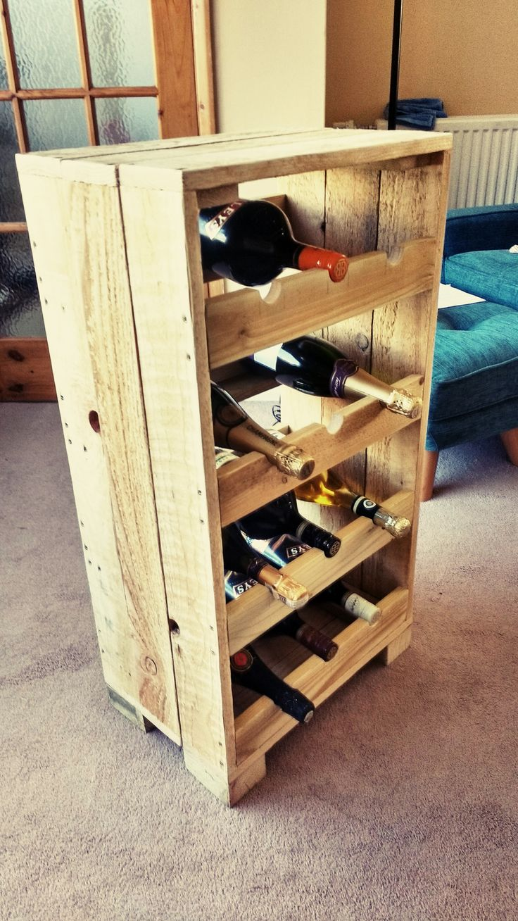 Beautiful Pallet Wine Storage Rack  #palletwinerack #recyclingwoodpallets This is one of my first projects. I have been looking for ideas for a present for my dads birthday that he can actually use and not put in a drawer and forget about. I came across a picture on Pinterest showing many different types of wine storage racks made from pallets. I came across a picture I liked then clicked on it, but it had no instructions on how to make it. So going by the picture I started to make it.
