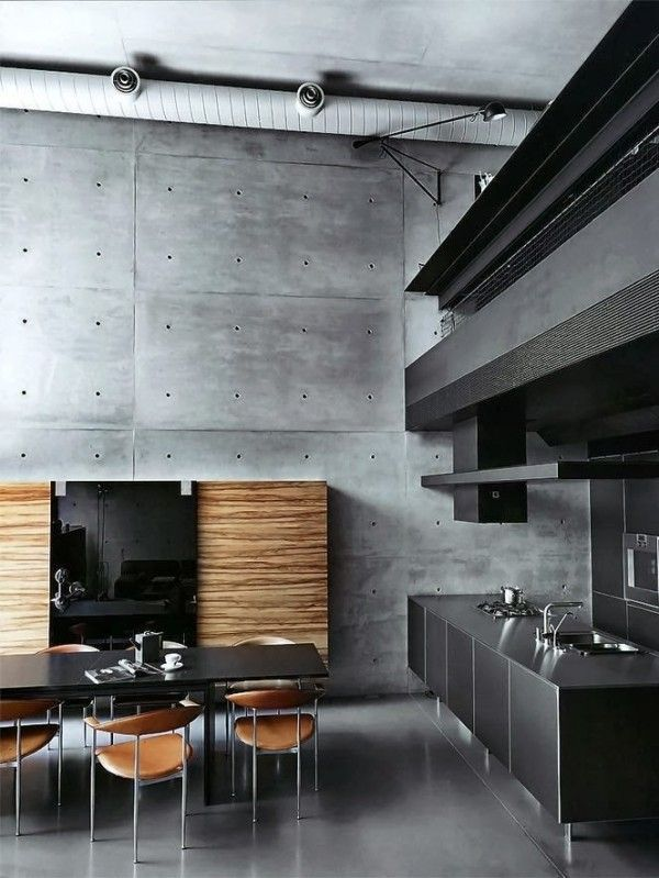 Luxurious Kitchen Island For Men With Grey Wall Black Table Wooden Chairs Lighting Grey Cabinet Ceramic Floor
