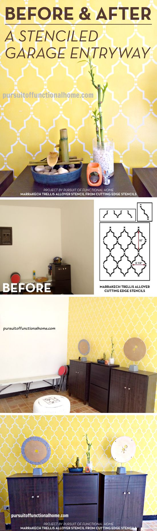 97 best color me yellow images on pinterest cutting edge cutting edge stencils shares a diy stenciled garage entryway makeover using a popular moroccan wall pattern amipublicfo Image collections