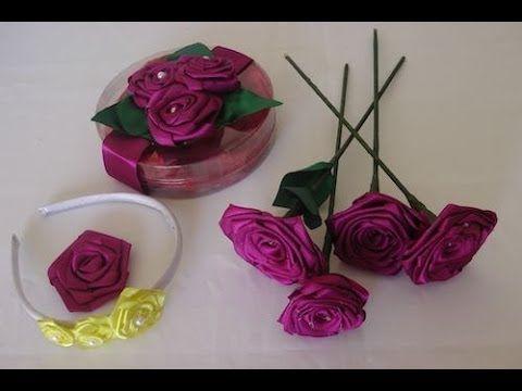 Como fazer uma rosa de cetim - YouTube