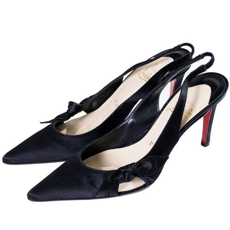 Christian Louboutin Black Satin Shoes Slingbacks Bows