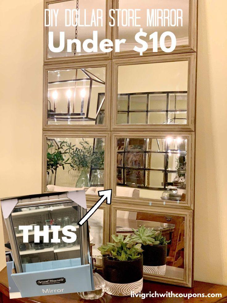 DIY Dollar Store Mirror – Spent Just Under $10 – #…