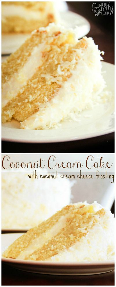 This Coconut Cream Cake is a coconut lovers dream!  It is a coconut cake, with a rich and creamy coconut cream cheese frosting, sprinkled with toasted coconut.  via @favfamilyrecipz