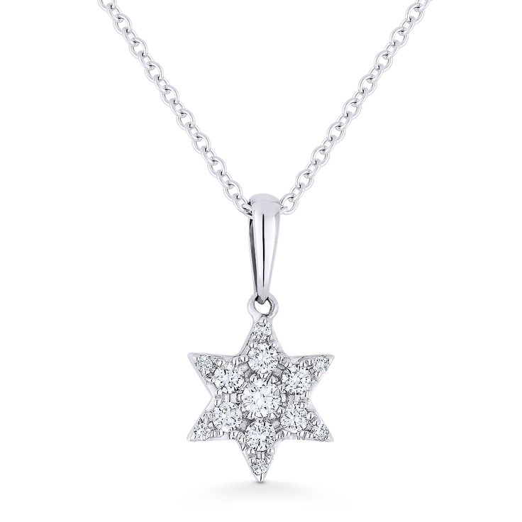 0.15ct Round Cut Diamond Star of David Pendant & Chain Necklace in 14k White Gold - AM-DN5087W - AlfredAndVincent.com
