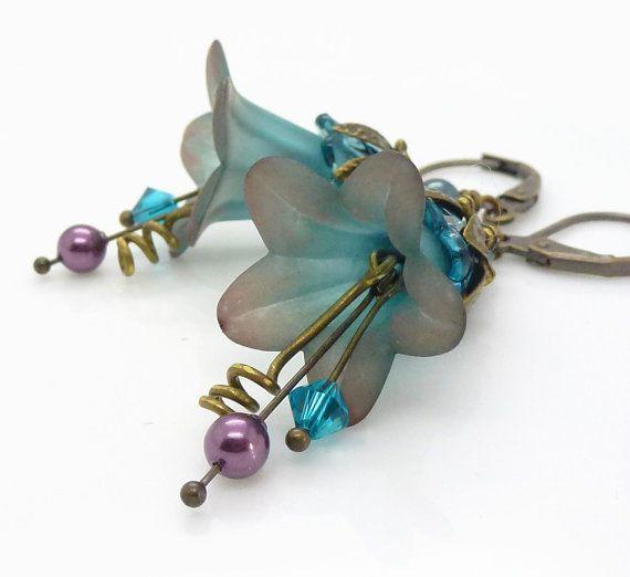 Teal lucite flower earrings Purple and teal earrings by WickedRuby