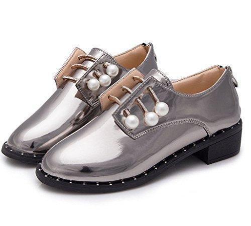 Oferta: 9.93€. Comprar Ofertas de Minetom Mujer Primavera Verano Moda Zapatos Estilo Británico Zapatos Apuntado Zapatos Zipper Cerca Plateado 38 barato. ¡Mira las ofertas!