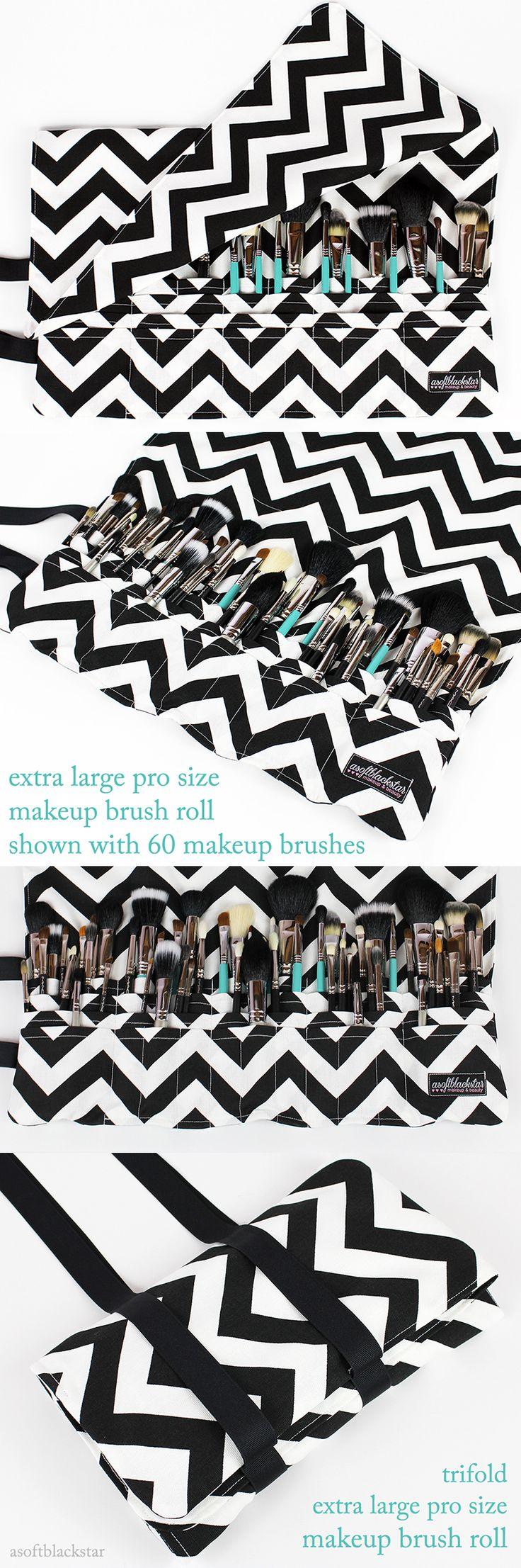 CUSTOM makeup brush roll Extra Large Pro Size - chevron print