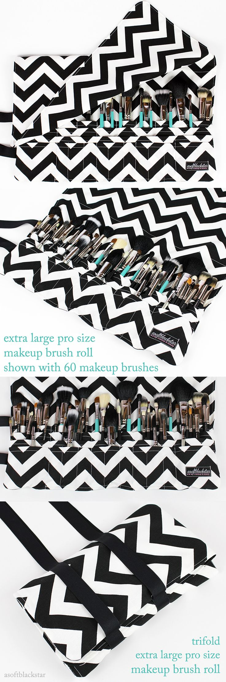 CUSTOM makeup brush roll Extra Large Pro Size - chevron print