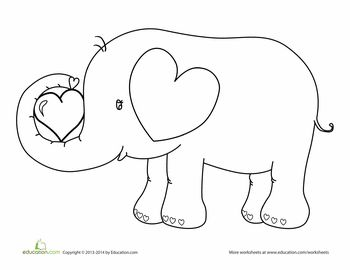 Elephant colering math worksheets elephant best free for Elephant template for preschool