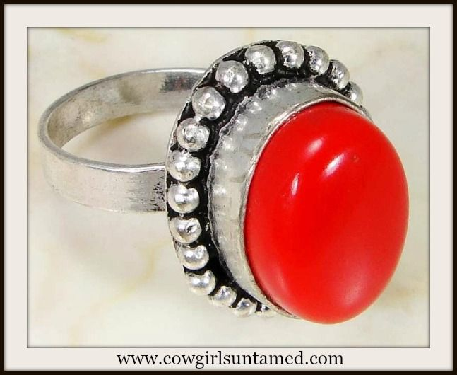 WESTERN COWGIRL RING 925 Sterling Silver Red Coral Gemstone Ring #coral #red #gemstone #sterlingsilver #ring #jewelry #cowgirl #western #silver #red #gift #boutique #beautiful #fashion #southwestern