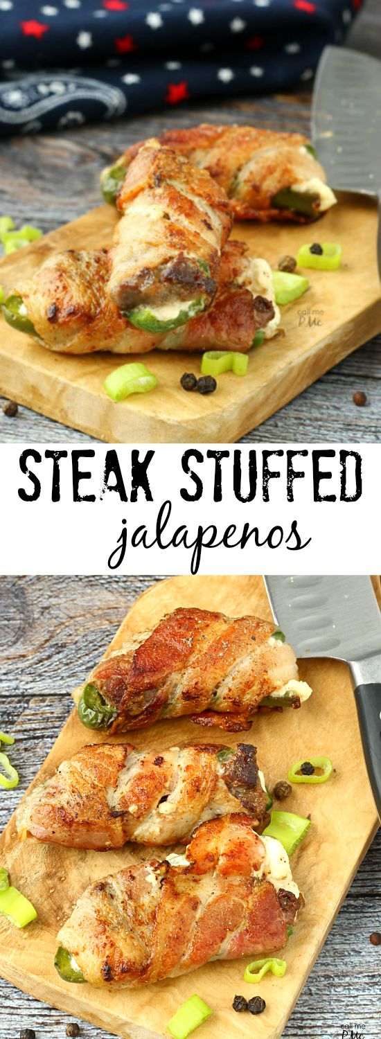 A simple filling of steak and cream cheese make these Steak Stuffed Jalapeños wrapped in bacon a popular appetizer.