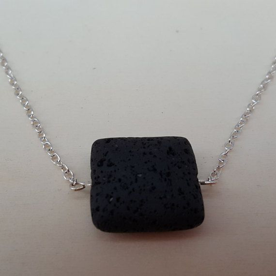AROMATHERAPY DIFFUSER NECKLACE with square by GloriaEssentials - $9.99 Just add a drop of your favorite essential oil on the LAVA ROCK and enjoy the aromatic benefits!