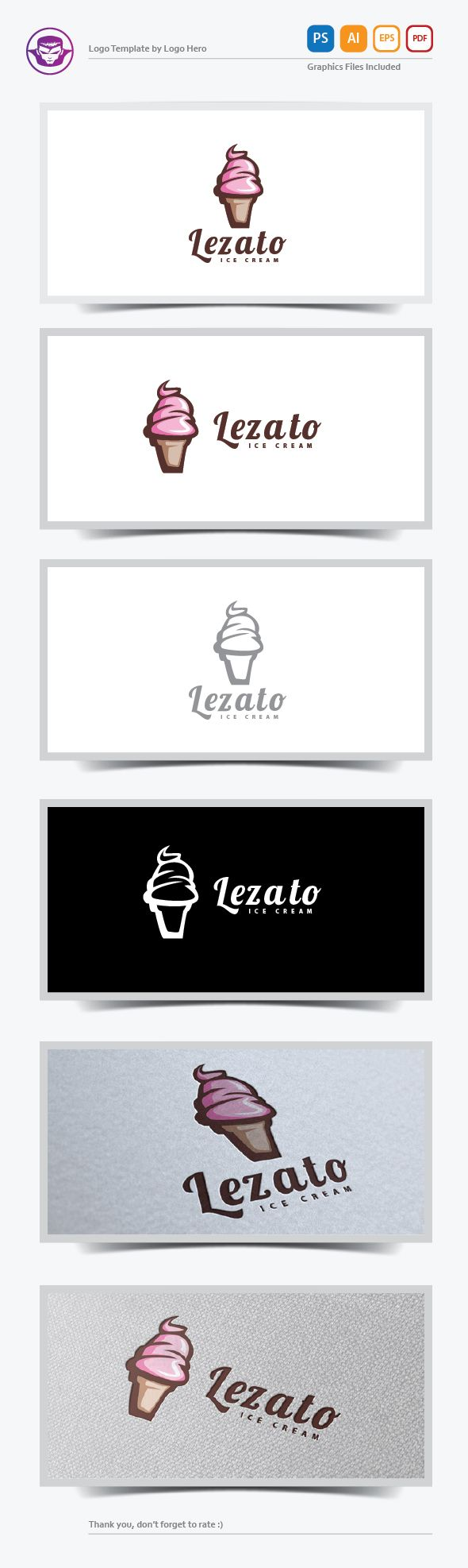 Lezato Ice Cream Logo Template by Logo Hero, via Behance