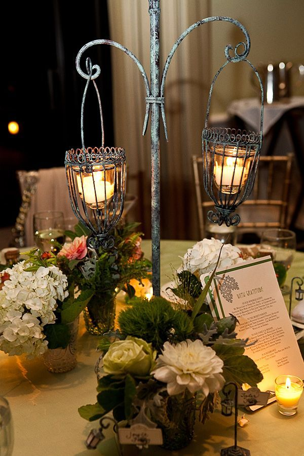 Art nouveau lantern centerpiece wedding flower and