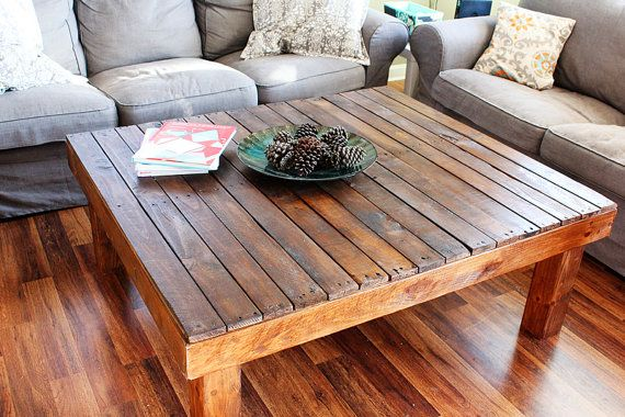 Dark Walnut Rustic Reclaimed Wood Large Square Coffee Table - Made From Upcycled Shipping Pallets - Sofa Table - Living Room Table on Etsy, $310.00