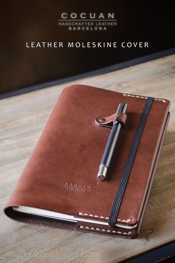 Introducing Cocuan Minimal Leather Moleskine Cover in dark brown. This cover is made of full grain natural vegetable tanned leather. It's tanned in Igualada (Barcelona – Spain) is a place with an old tradition with tanneries. Natural variations in the leather surface are the evidence of real hide. Stiching is made with individual holes punched by hand and sewed in the traditional way with waxed linen thread. All edges are finished by hand too.