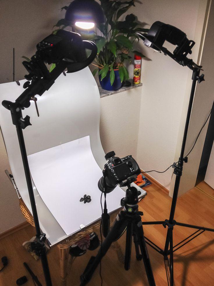 grundlegender Aufbau meines Sets zur Produktfotografie kleiner Mineralsteine