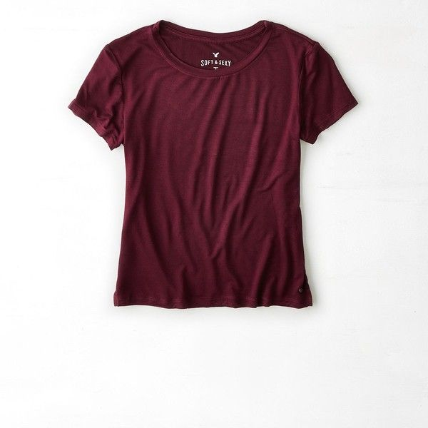 American Eagle Soft & Sexy Baby T-Shirt ($18) ❤ liked on Polyvore featuring tops, t-shirts, shirts, maroon lagoon, scoop neck t shirt, maroon shirt, sexy t shirts, scoop-neck tees and short-sleeve shirt
