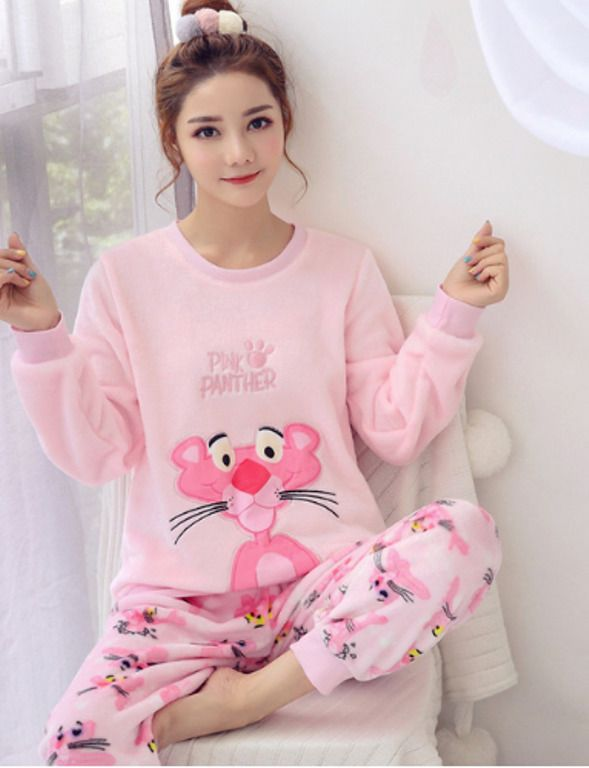Women Pajama Set Warm Fannel Thicken Pijama lovely pink cartoon Sleepwear  New  Unbranded  Sleepshirt 1daf4e312