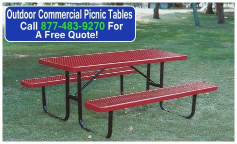 Outdoor commercial picnic tables can be ordered to accommodate groups of people ranging from 4 to 12 adults. Discount Prices With Quick Shippng